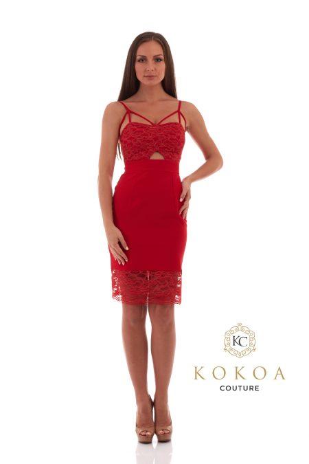 rochie de ocazie scurta rosie cu dantela