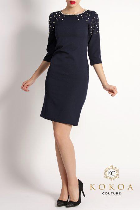 rochie de ocazie scurta si eleganta bleumarin