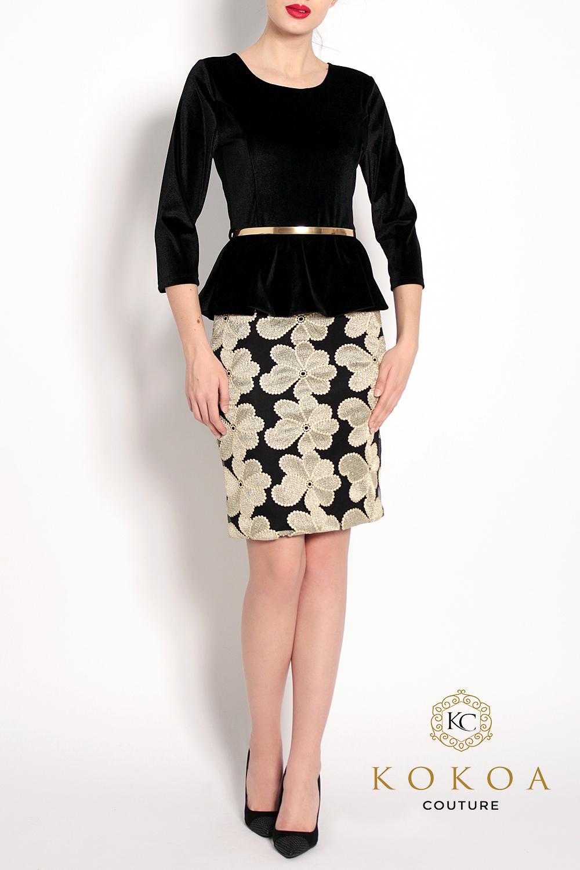 rochie eleganta scurta din catifea de culoare neagra
